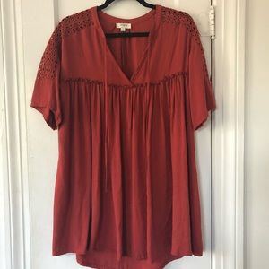 Umgee Rusty Red Embroidered Tunic / Dress Size S